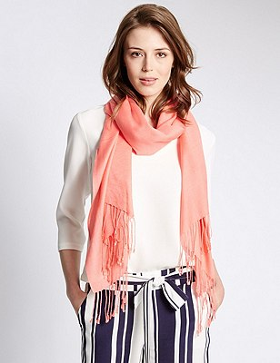 Modal Blend Pashminetta Scarf with Wool, ORANGE FIZZ, catlanding