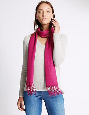 Sjaal van modalmix met wol, MAGENTA, catlanding