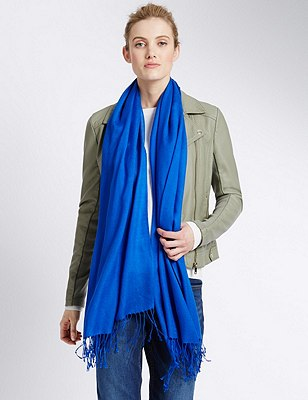 Modal Blend Pashminetta Scarf with Wool, BRIGHT BLUE, catlanding