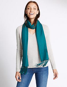 Sjaal van modalmix met wol, FLESSENGROEN, catlanding