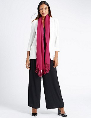Modal Blend Pashminetta Scarf with Wool, FUCHSIA, catlanding