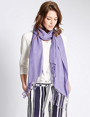 Modal Blend Pashminetta Scarf with Wool, VIOLET, catlanding