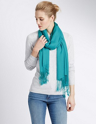 Modal Blend Pashmina Scarf with Wool, TURQUOISE, catlanding