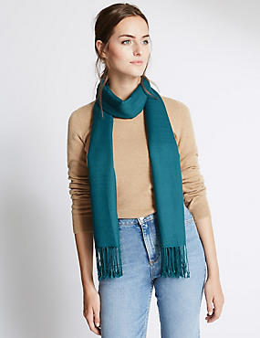 Modal Blend Pashminetta Scarf with Wool, TEAL, catlanding
