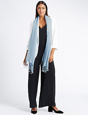 Modal Blend Pashminetta Scarf with Wool, MID BLUE, catlanding