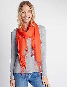 Modal Blend Scarf with Wool, BRIGHT ORANGE, catlanding