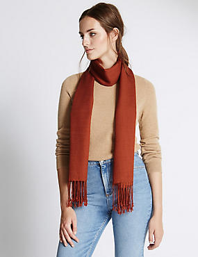 Modal Blend Pashminetta Scarf with Wool, RUST, catlanding