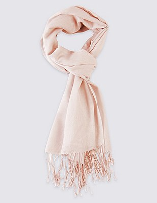 Modal Blend Pashminetta Scarf with Wool, PALE PINK, catlanding