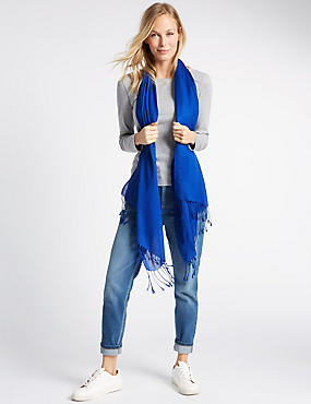 Modal Blend Scarf with Wool, ROYAL BLUE, catlanding