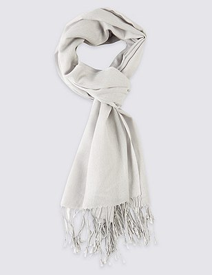 Modal Blend Pashminetta Scarf with Wool, GREY, catlanding