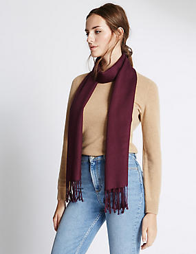 Modal Blend Pashminetta Scarf with Wool, CLARET, catlanding