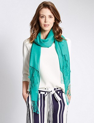 Modal Blend Pashmina Scarf with Wool, JADE, catlanding