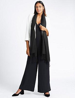 Modal Blend Scarf with Wool, BLACK, catlanding