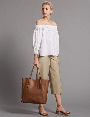 Leather Shopper Bag, TAN, catlanding