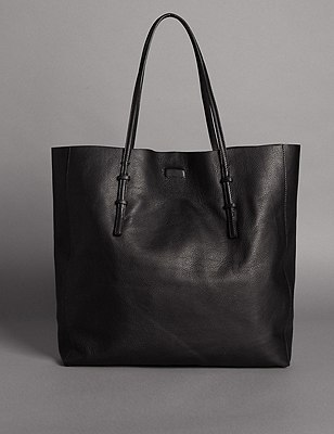 Leather Shopper Bag, BLACK, catlanding