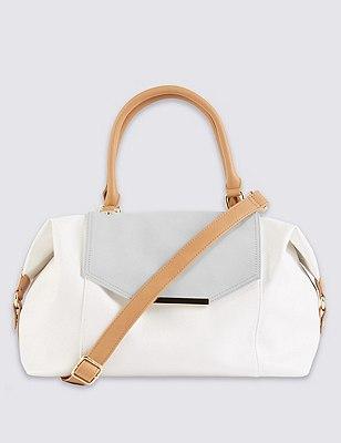 Faux Leather Colour Block Tote Bag, , catlanding