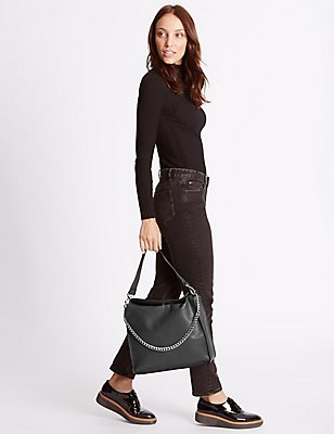Faux Leather Chain Slouch Hobo Bag, DARK GREY, catlanding