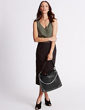 Faux Leather Chain Slouch Hobo Bag, BLACK, catlanding