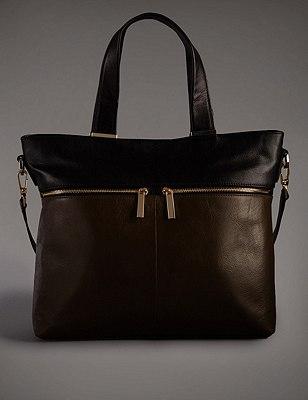 Leather Tote Bag, KHAKI MIX, catlanding