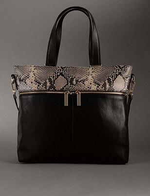 Leather Tote Bag, BLACK MIX, catlanding