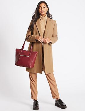 Leather Tote Bag, RASPBERRY, catlanding