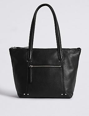 Leather Tote Bag, BLACK, catlanding