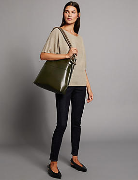 Leather Shopper Bag, KHAKI, catlanding