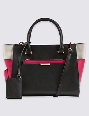 Faux Leather Clutch Pocket Tote Bag
