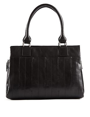 Leather Double Stitch Tote Bag, , catlanding