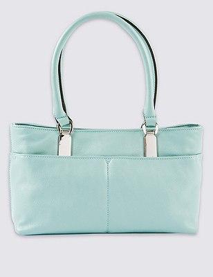 Faux Leather Double Pocket Mini Shoulder Bag, MINT, catlanding