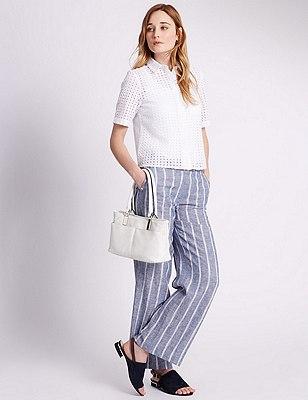 Faux Leather Double Pocket Mini Shoulder Bag, WHITE, catlanding