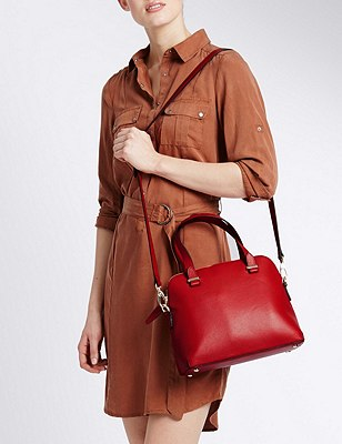 Leather Tote Bag, RED, catlanding