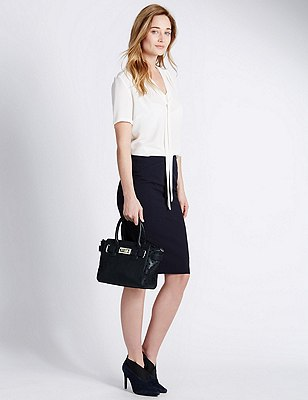 Faux Leather Cut-Out Grab Tote Bag, NAVY, catlanding