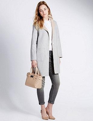 Faux Leather Cut-Out Grab Tote Bag, PEACH, catlanding