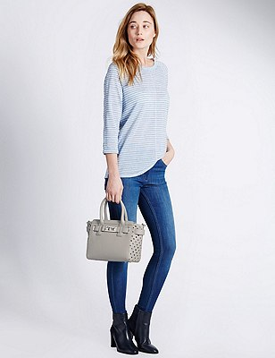 Faux Leather Cut-Out Grab Tote Bag, GREY, catlanding