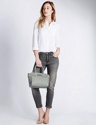 Faux Leather Cut-Out Grab Tote Bag, MINT, catlanding