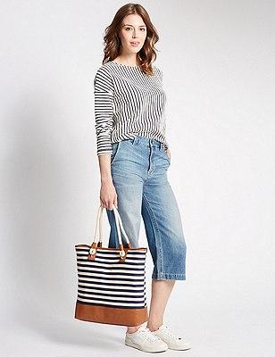 Bolsón de algodón con asa de cuerda, , catlanding