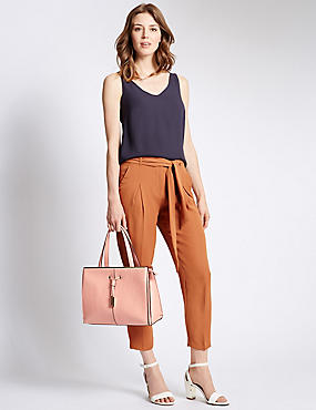 Faux Leather Drawstring Tote Bag, APRICOT, catlanding