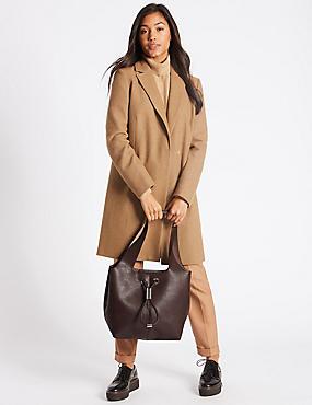 Faux Leather Hobo Bag, CHOCOLATE, catlanding