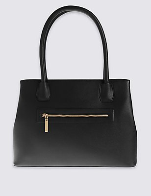 Faux Leather Zipped Tote Bag, BLACK, catlanding