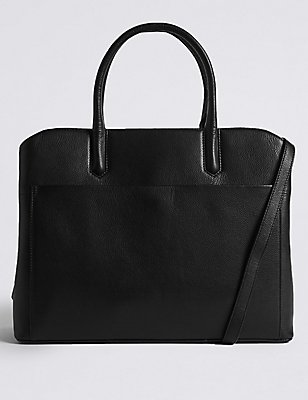 Leather Laptop Technology Tote Bag, , catlanding