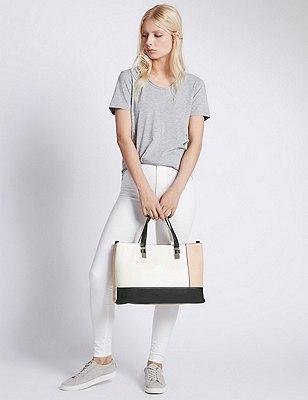 Faux Leather Double Face Tote Bag, , catlanding