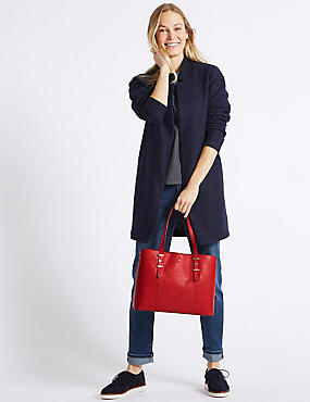 Faux Leather Soft Stud Tote Bag, RED, catlanding