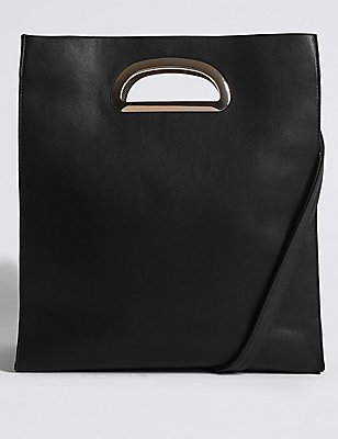 Faux Leather Ring Tote Bag , BLACK, catlanding
