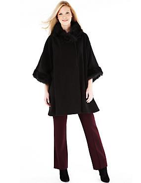 Faux Fur Collar Fleece Wrap, BLACK, catlanding