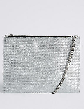 Faux Leather Chain Shoulder Bag, SILVER MIX, catlanding