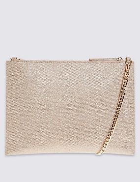 Faux Leather Chain Shoulder Bag, GOLD MIX, catlanding