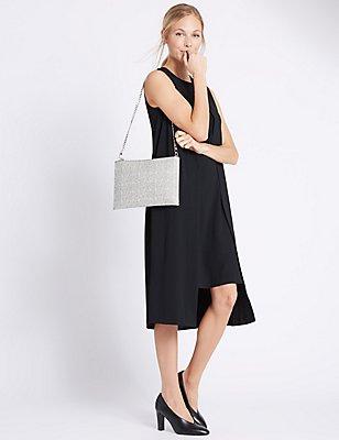Faux Leather Chain Shoulder Bag, BLACK MIX, catlanding