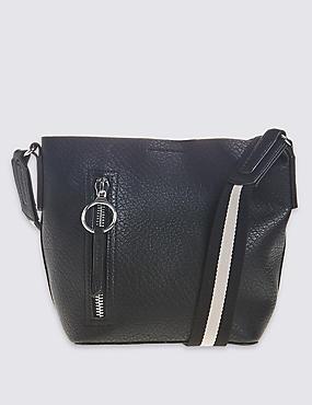 Faux Leather Duffle Bag , BLACK MIX, catlanding