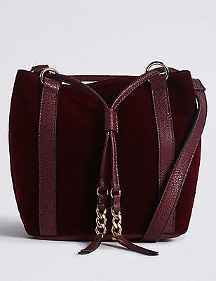 Velvet Drawstring Duffle Bag, BURGUNDY, catlanding